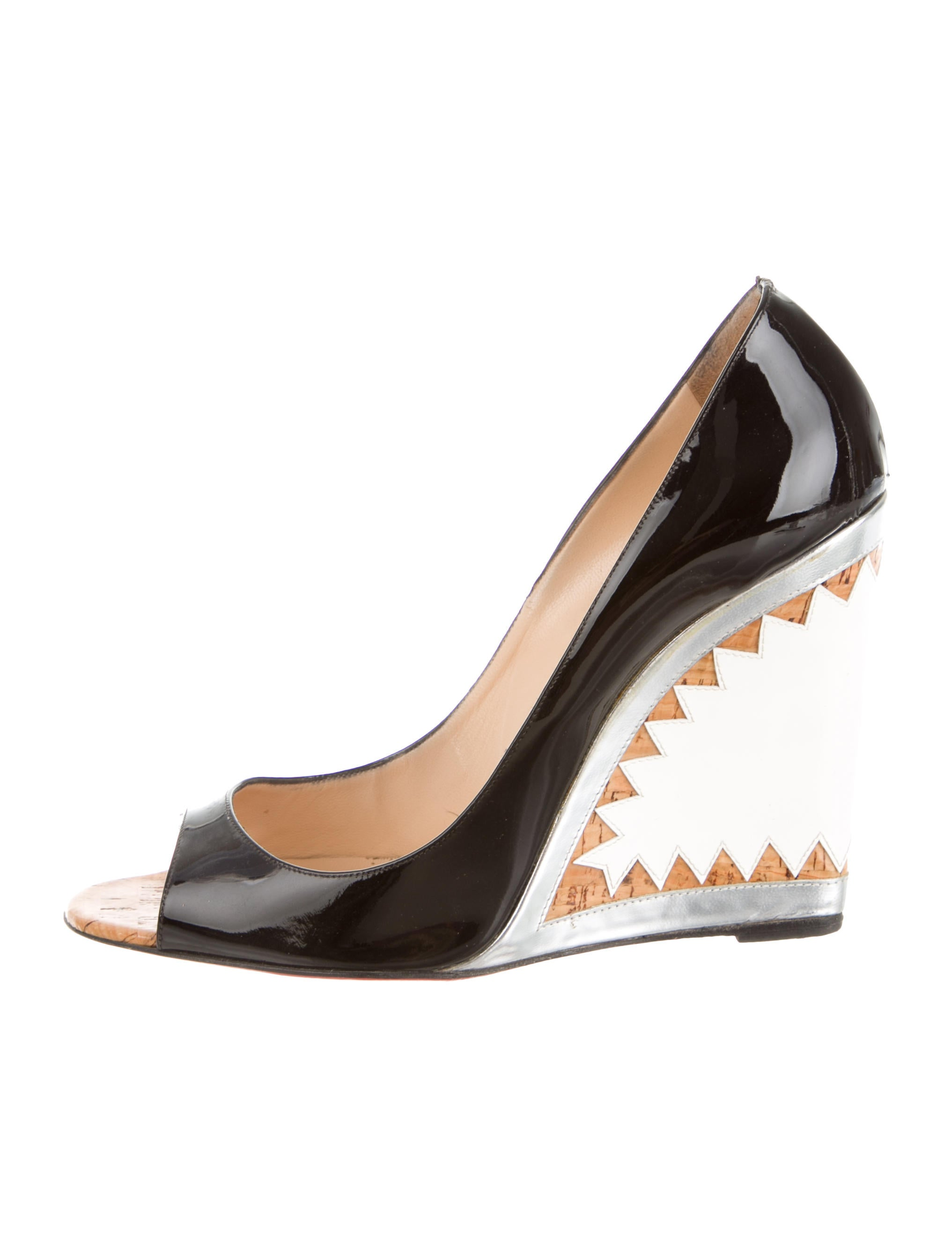 Christian Louboutin Metallic-Trimmed Patent Leather Wedges - Shoes ...