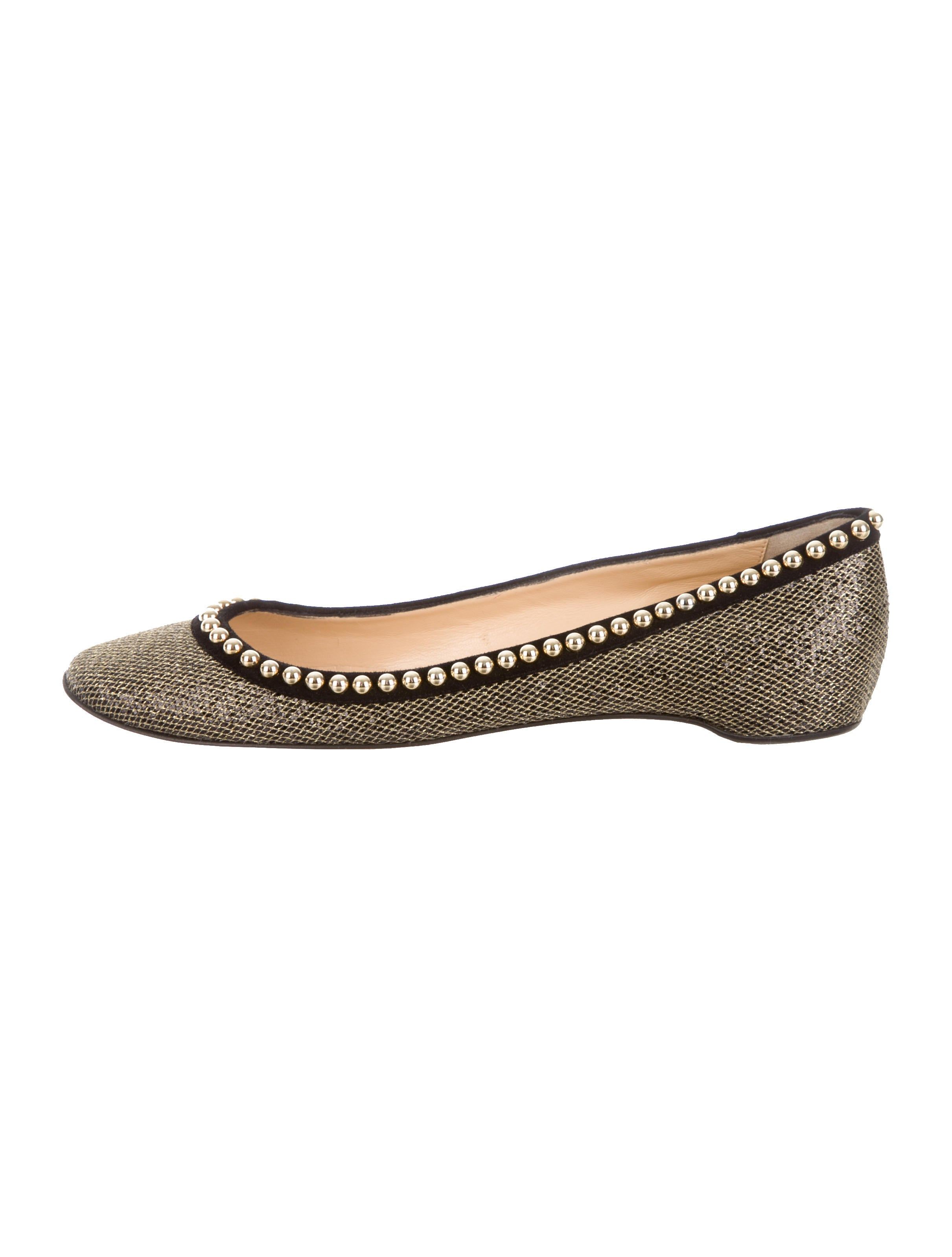 Christian Louboutin Glitter Round-Toe Flats - Shoes - CHT43435 ...