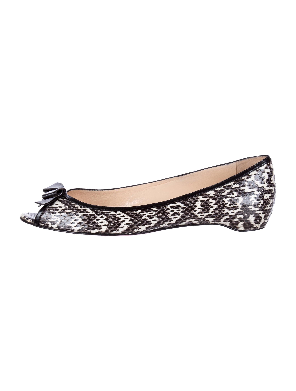 Christian Louboutin Peep-Toe Snakeskin Flats - Shoes - CHT43655 ...