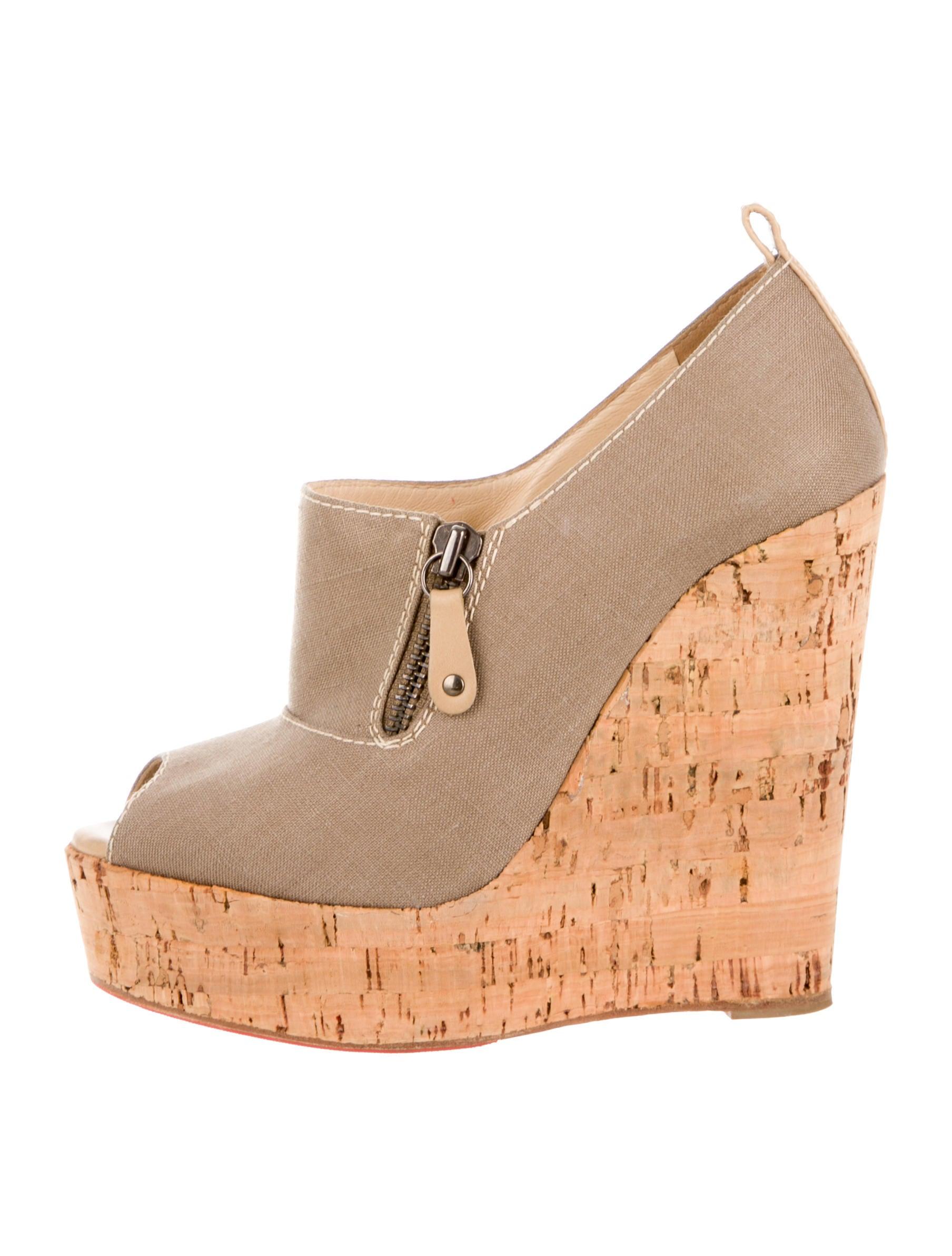 christian louboutin peep-toe cork wedges