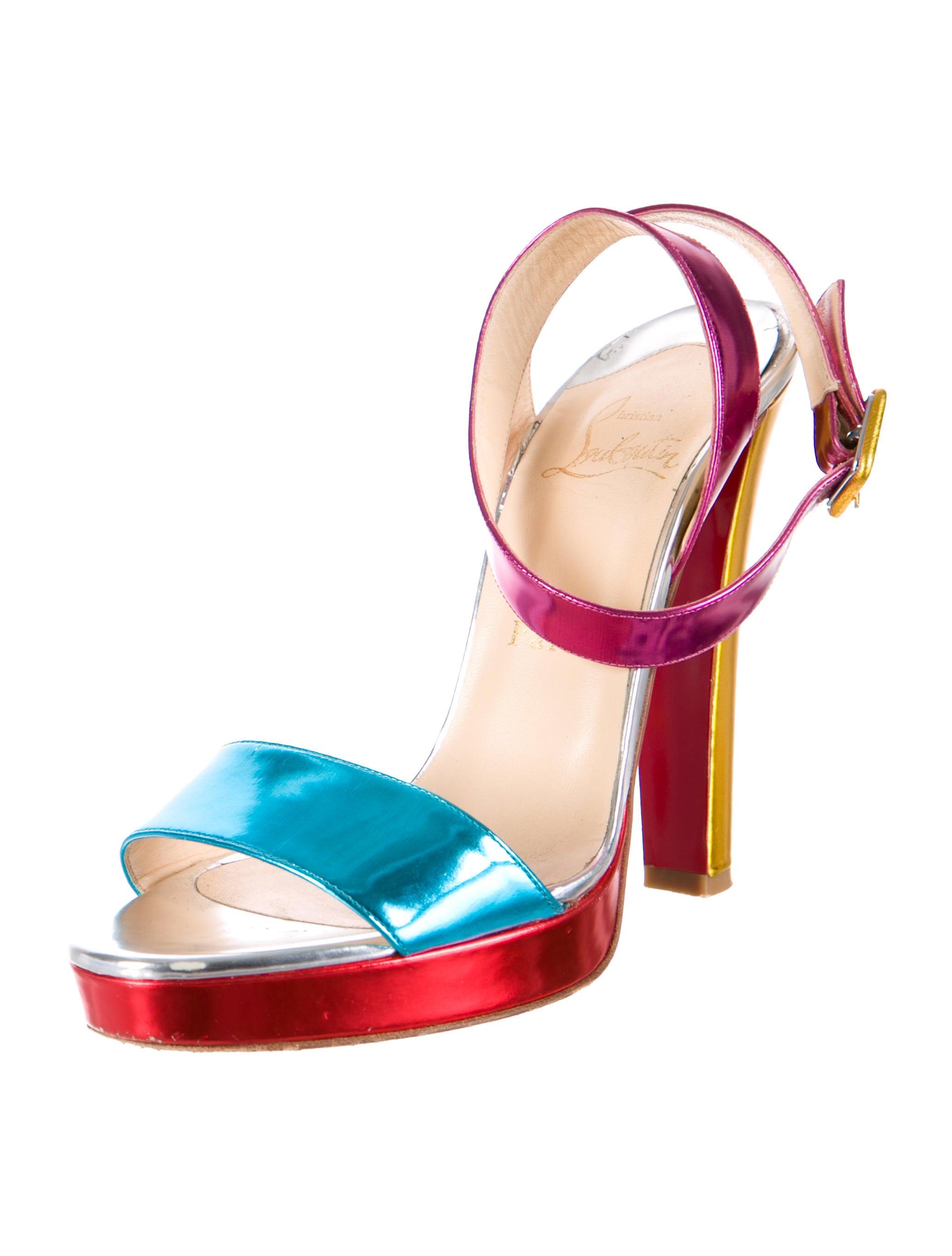 Christian Louboutin Metallic Colorblock Platform Sandals