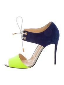christian louboutin colorblock lace-up sandals