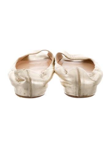 Christian Louboutin Metallic Peep-Toe Flats - Shoes - CHT44363 ...