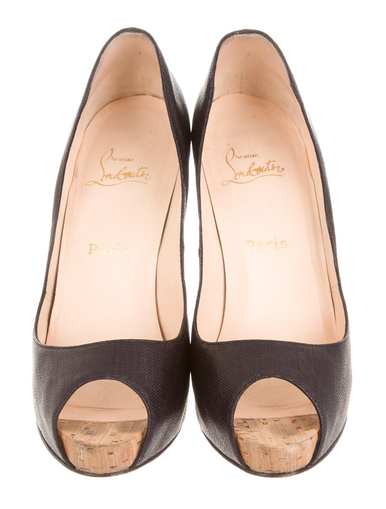christian louboutin metallic cork flo pumps
