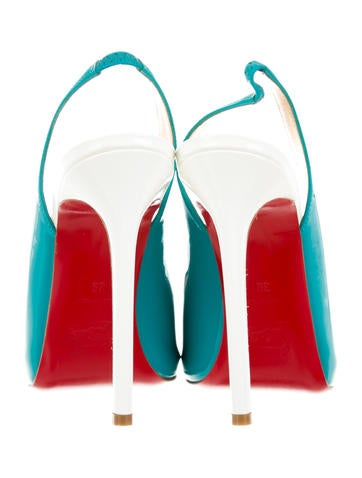 christian louboutin teal slingback pumps