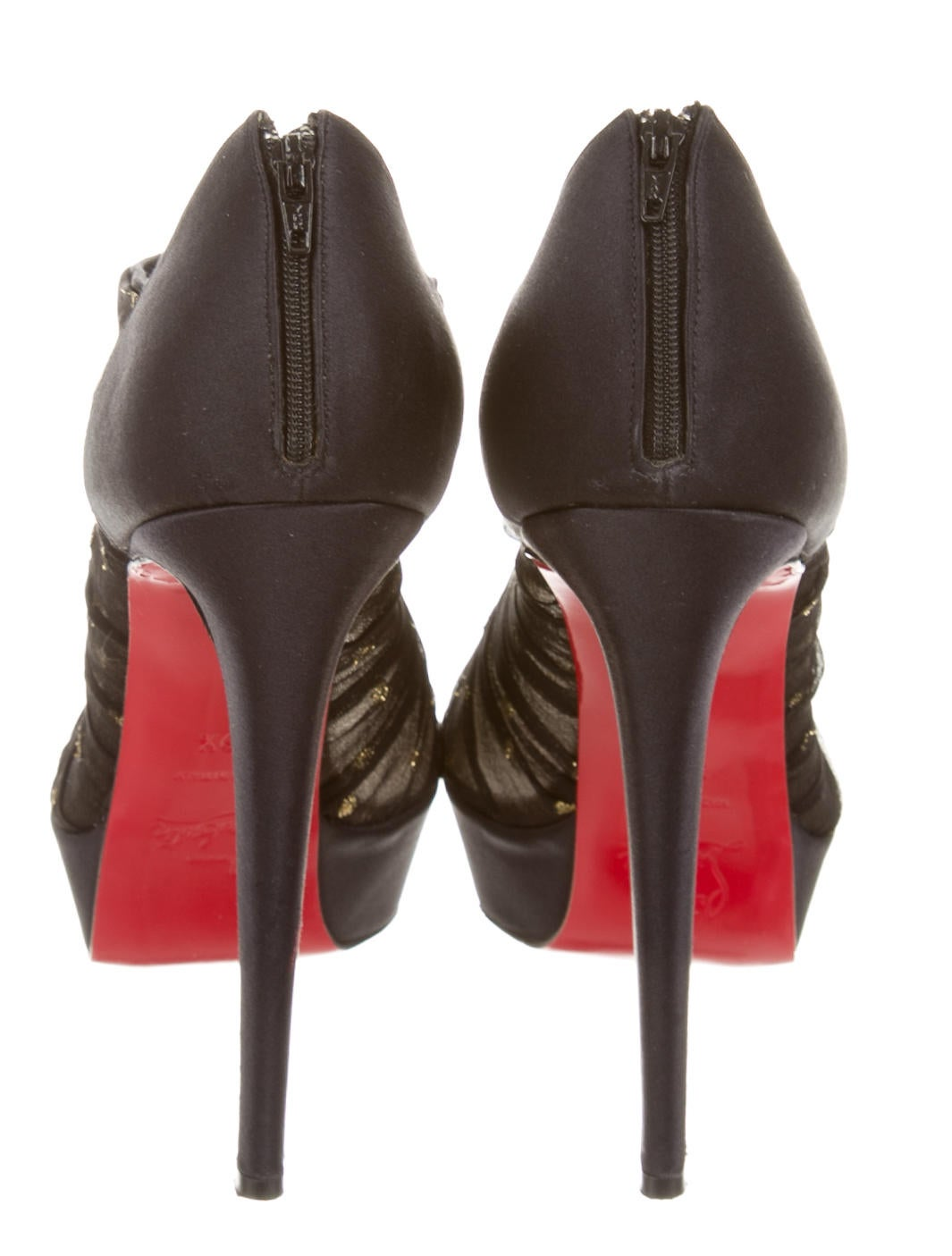 black spiked christian louboutin - Christian Louboutin Ruffled Peep-Toe Booties - Shoes - CHT46157 ...