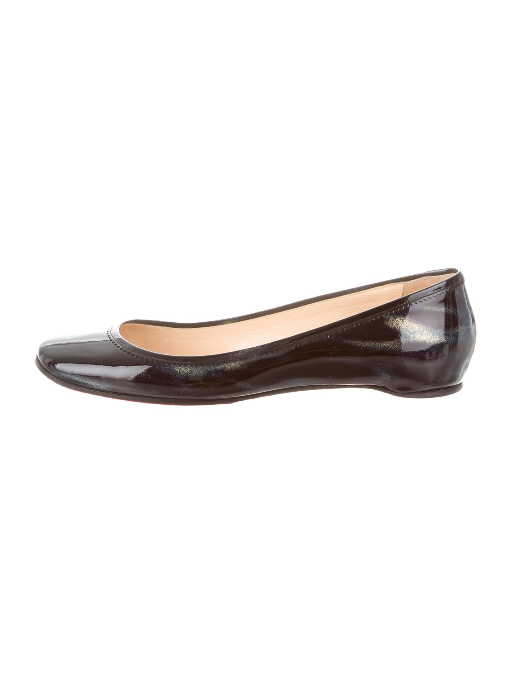 christian louboutin metallic patent leather flats shoes