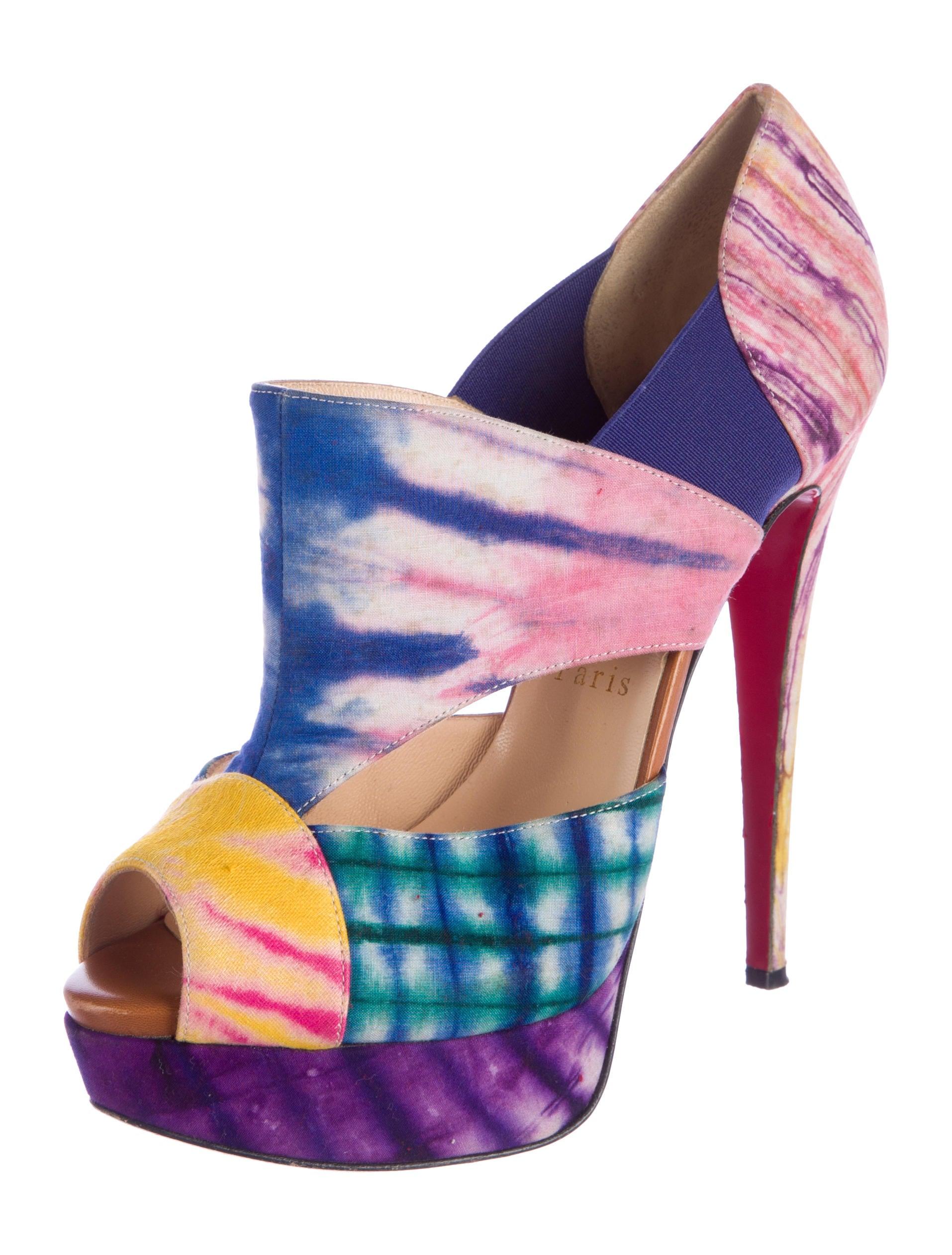 christian louboutin tie-dye slide sandals