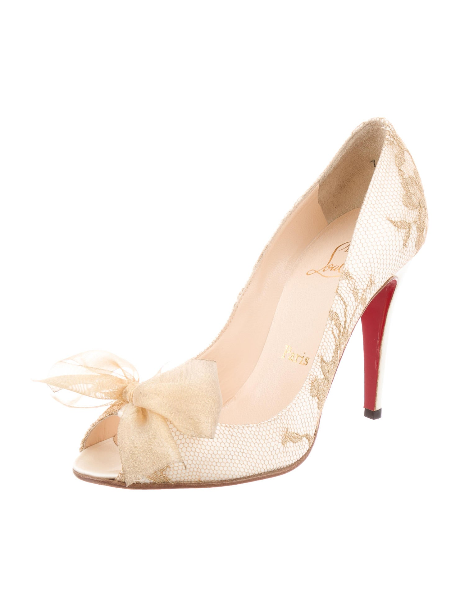 where to buy christian louboutin shoes - Christian Louboutin Bow-Embellished Lace Pumps - Shoes - CHT48508 ...