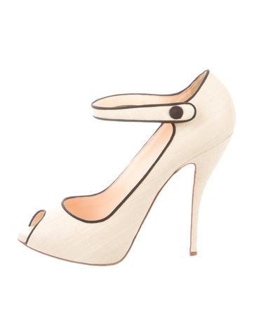replica sneaker - Christian Louboutin Raffia Peep-Toe Mary Jane Pumps - Shoes ...