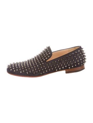 christian louboutin spike zebra loafers