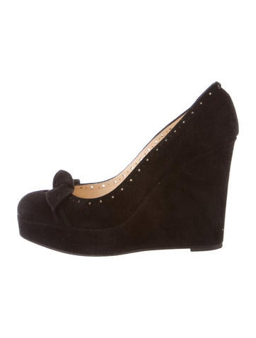 Christian Louboutin Suede Round-Toe Wedges