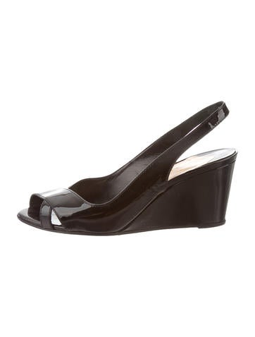 Christian Louboutin Patent Leather Crossover Wedges None