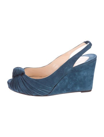 Christian Louboutin Suede Peep-Toe Wedges None