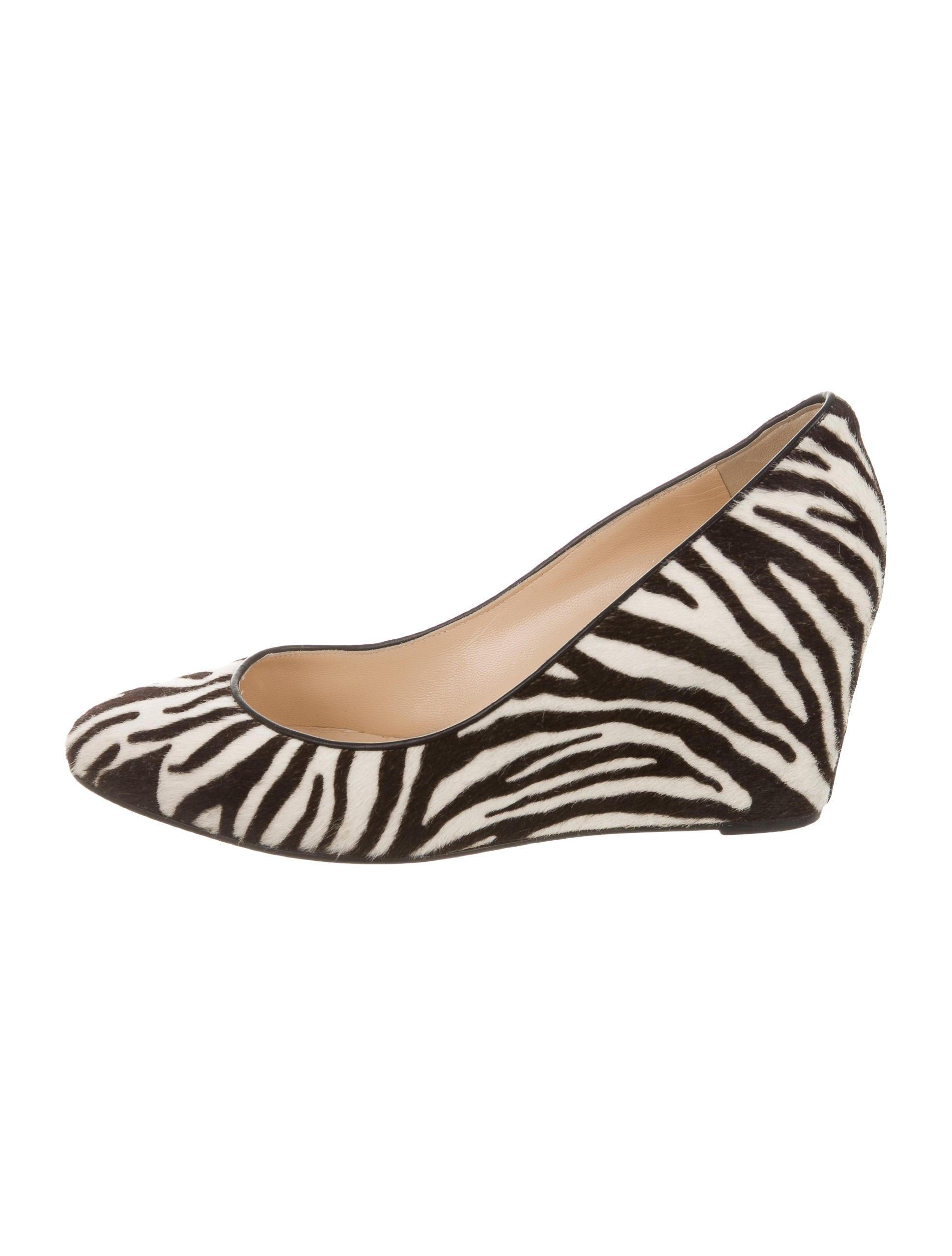 christian louboutin zebra print wedges shoes cht52978