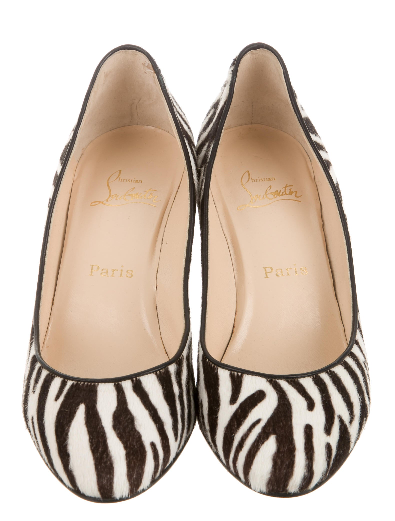 christian louboutin zebra print wedges shoes cht52978 the realreal