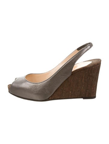 Christian Louboutin Metallic Slingback Wedges None