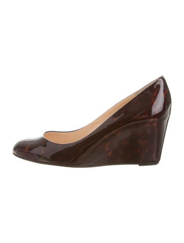 Christian Louboutin Patent Leather Round-Toe Wedge None