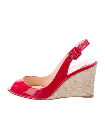 Christian Louboutin Patent Leather Espadrille Wedges None