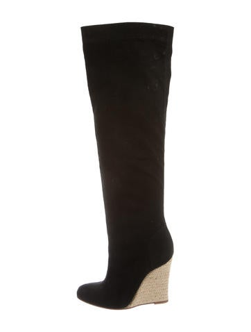 Christian Louboutin Canvas Wedge Knee-High Boots None