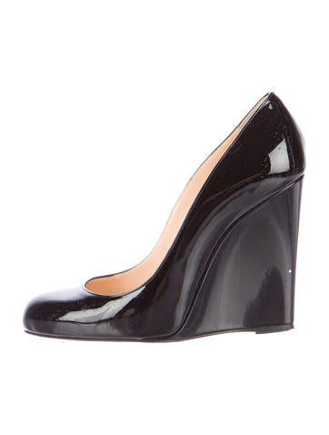 Christian Louboutin Round-Toe Patent Leather Wedges None