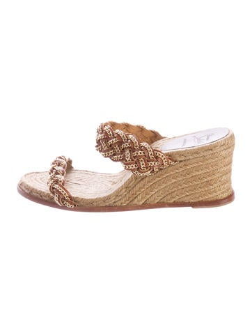 Christian Louboutin Leather Chain-Link Espadrille Wedges None