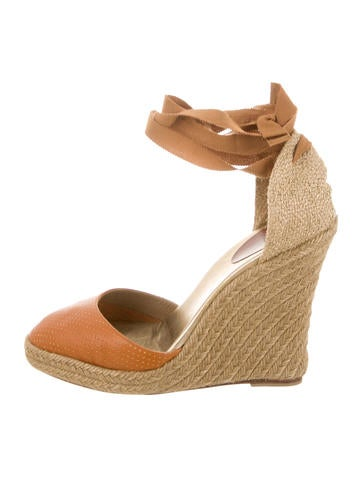 Christian Louboutin Leather Wrap-Around Espadrille Wedges None