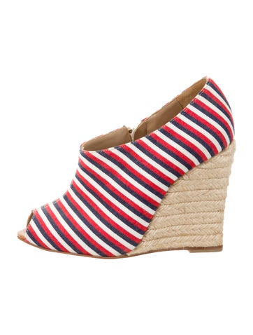 Christian Louboutin Striped Peep-Toe Wedges None