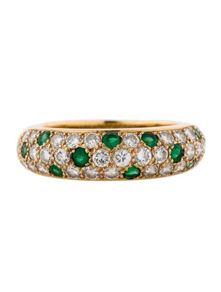 cartier three row emerald and pav 233 ring rings