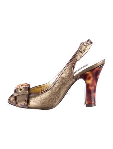 Dolce & Gabbana Metallic Peep-Toe Slingback Pumps