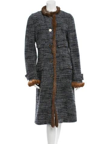 Dolce & Gabbana Long Fur-Trimmed Coat