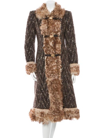 Dolce & Gabbana Long Fur-Trimmed Coat