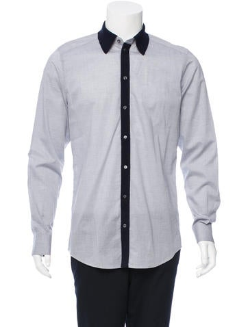 Dolce & Gabbana Rib Knit-Trimmed Button-Up Shirt