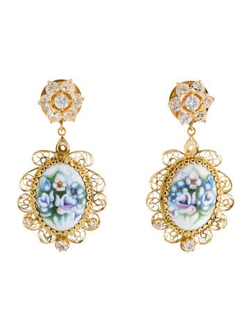 Dolce & Gabbana Porcelain Floral Clip-On Earrings
