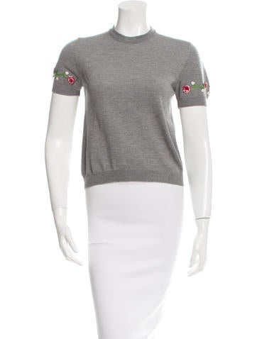 Dolce & Gabbana Sequin-Accented Wool Top None