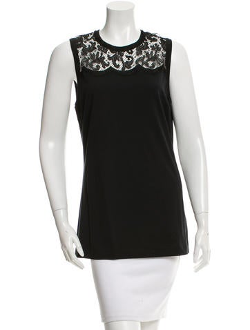 Dolce & Gabbana Lace-Trimmed Sleeveless Top w/ Tags None