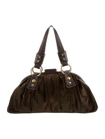 Dolce & Gabbana Leather-Trimmed Velvet Shoulder Bag None