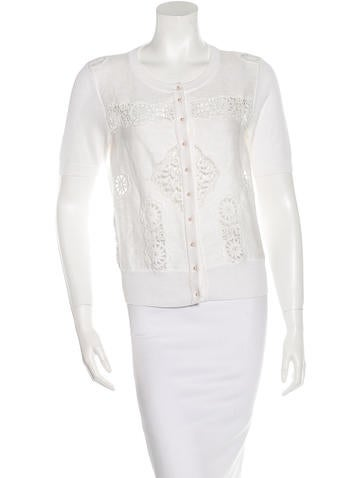 Dolce & Gabbana Lace-Trimmed Short Sleeve Cardigan None