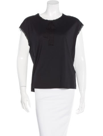Dolce & Gabbana Lace-Trimmed Cap Sleeve Top None