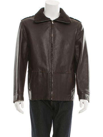 Dolce & Gabbana Leather Rib Knit-Trimmed Jacket None