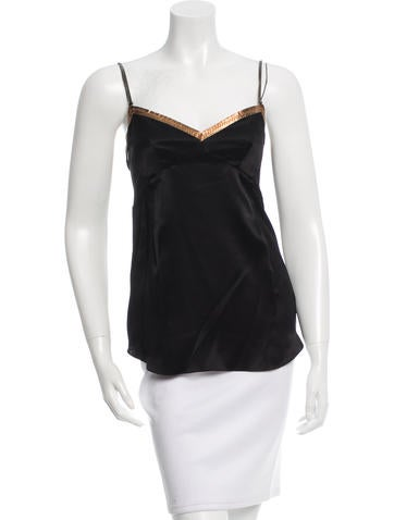 Dolce & Gabbana Leather-Accented Silk Top w/ Tags None
