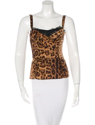 Dolce & Gabbana Leopard Print Lace-Trimmed Top None