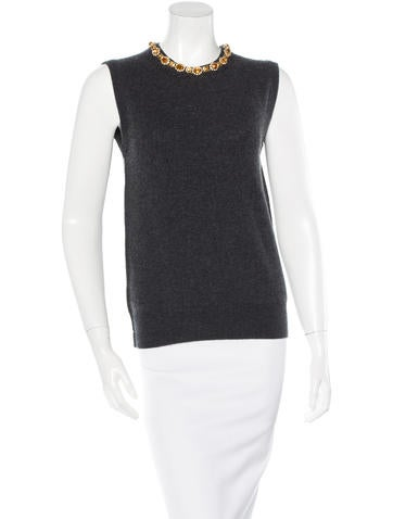 Dolce & Gabbana Embellished Cashmere Top w/ Tags None