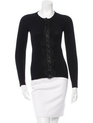 Dolce & Gabbana Rib Knit Lace-Trimmed Top None