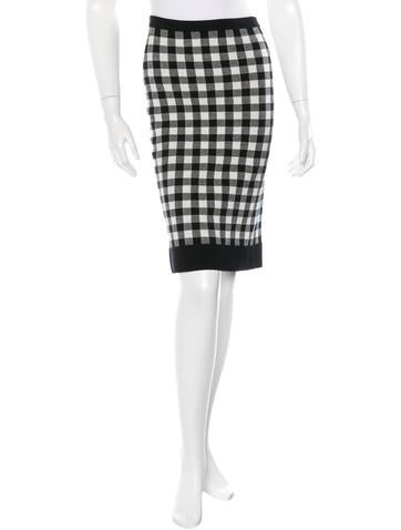 Derek Lam Knit Gingham Skirt None