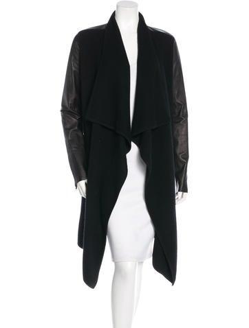 Donna Karan Leather-Paneled Cashmere Cardigan None