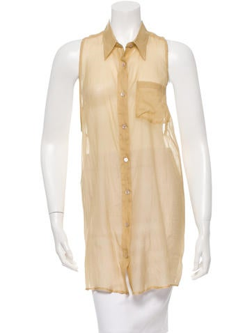 Dries Van Noten Sleeveless Button-Up Top None