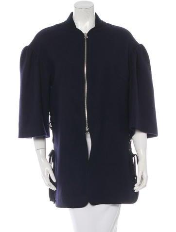 Dries Van Noten Wool Lace-Up Coat None