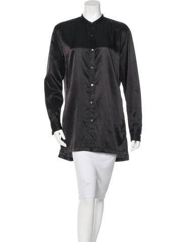 Dries Van Noten Satin Button-Up Top None