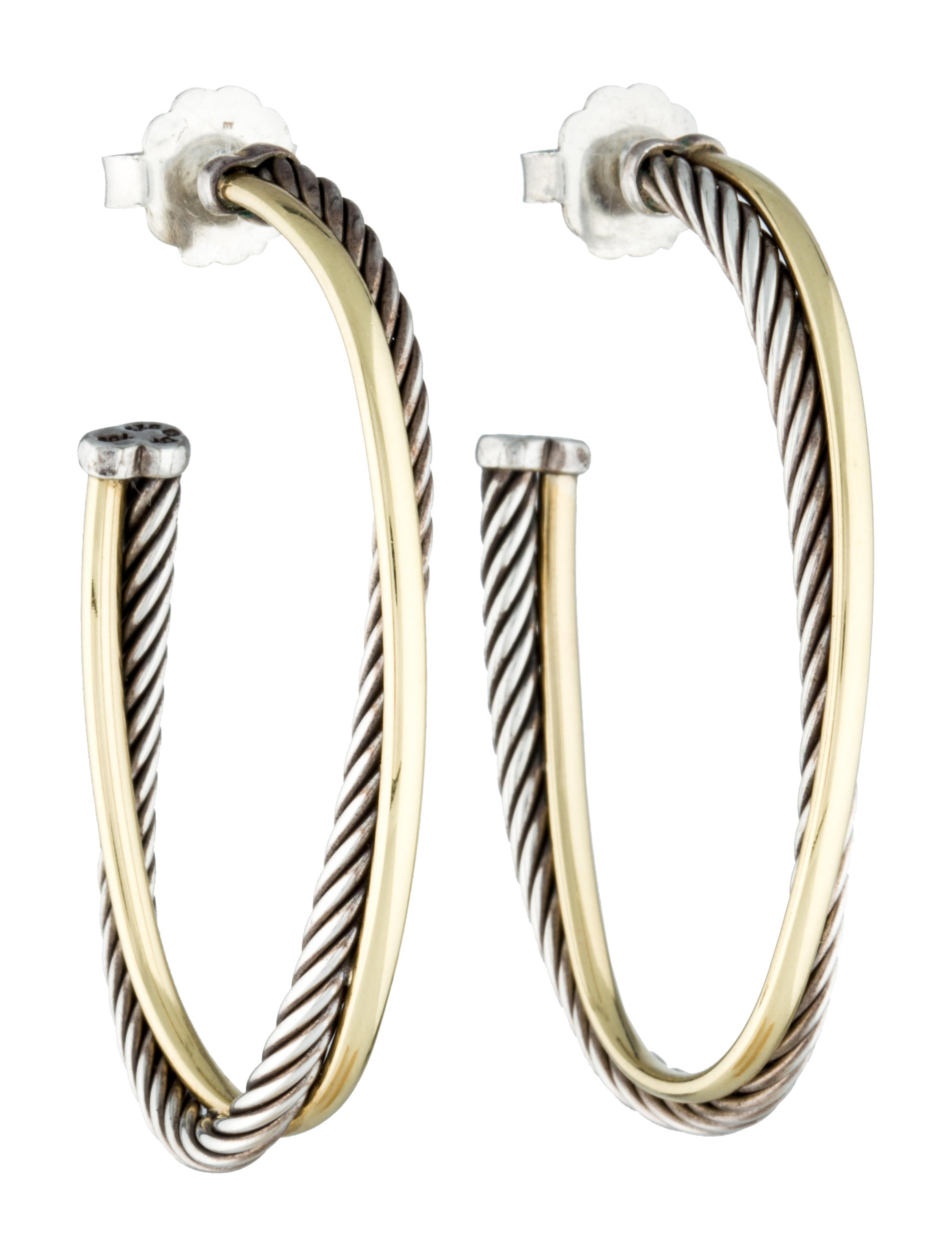 David Yurman Crossover Hoop Earrings - Jewelry - DVY25509 | The RealReal